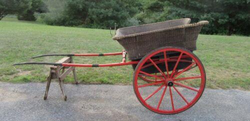 antique wicker pony  drawn carriage