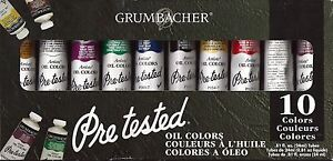 NEW!! 10 Tubes x 24 ml GRUMBACHER PRE-TESTED Oil Paint Multiple Color Colors Set