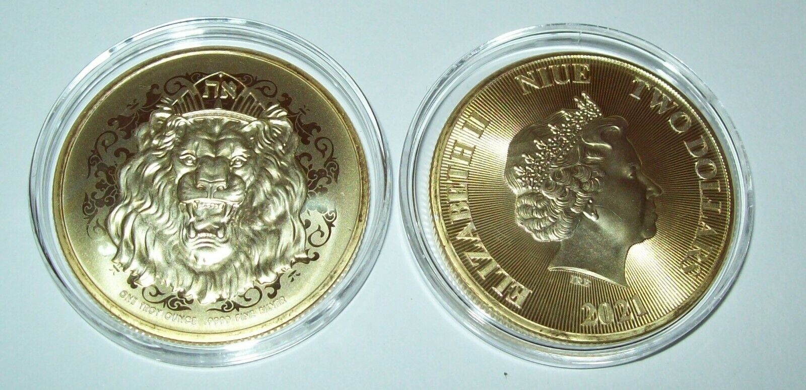2021 Niue Roaring Lion 1 Troy Oz Silver Coin 24K Gold Gilded Two Dollar 2 - $29.11