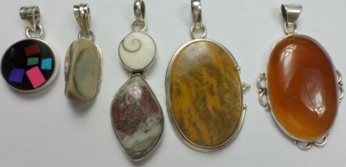 5 Vintage 925 Sterling Silver Carnelian Picture Jasper Abalone Pendants 67 Grams