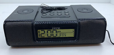 iHome (iH9) Black Ipod Speaker Dock Dual Alarm Clock Radio 10 2.C4