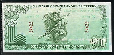 New York State 1975 Xiii Olympic Winter  Lottery  10 Note As Shown