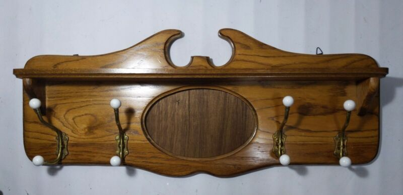 VTG Antique Solid Oak Wood Wall Mounted Coat & Hat Hanger Shelf Rack Brass Hooks