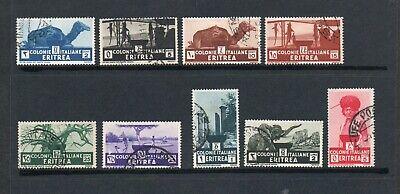 ERITREA 1933 9 vals. USED - SG199-207, C.V. £31