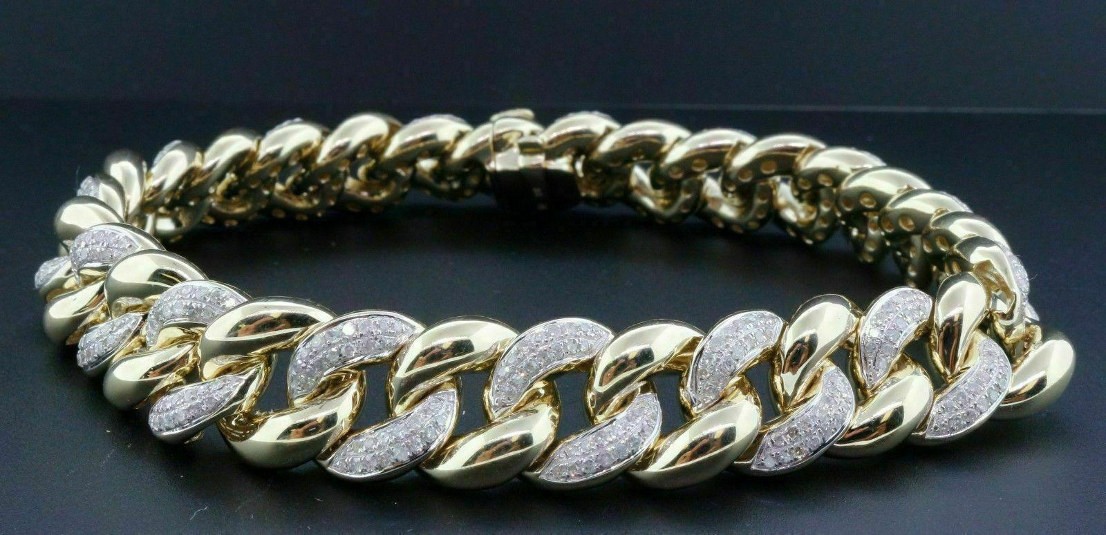 "Miami Cuban Round Cut 4CT Diamond Bracelet Men's 14k Yellow Gold Over 8""Inch"
