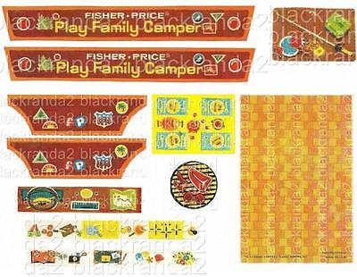 VINTAGE FISHER PRICE LITTLE PEOPLE 994 CAMPER REPLACEMENT LITHOS STICKERS DECALS