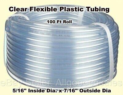 Clear Plastic Tubing 100 Roll 516 Inside Dia. X 716 Outside Dia Flexible