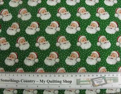 Patchwork Quilting Sewing Fabric SANTA CLAUS CHRISTMAS GREEN 55x50cm FQ New