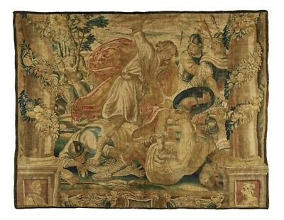 17th CENTURY LARGE FLEMISH TAPESTRY ANTIQUE HISTORICAL MILITARY THEME 10 x 8.5'