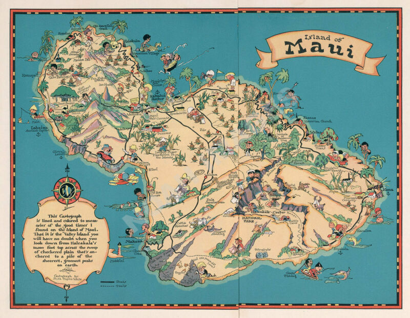 Island of Maui Hawaii vintage pictorial guide map repro 24x18