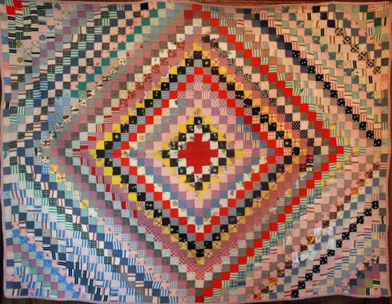 VINTAGE QUILT ~ MULTI-COLORED ANTIQUE TRIP AROUND THE WORLD ~ ALL BY HAND