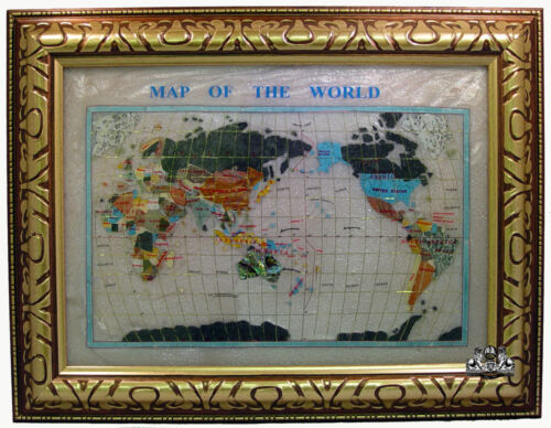 """Unique Art 26"""" Cross Pearl Ocean Gemstone World map with frame"""