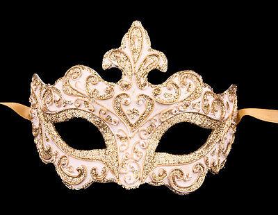 Mask from Venice Colombine White Paper Mache -creation artisanale-2147 - V70