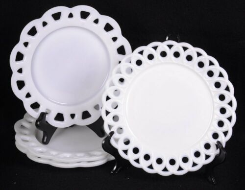 """Lot of (4) PIERCED Lace, Doily Rimmed White MILK GLASS Plates 8.5""""D"""