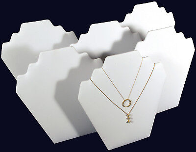 6 New White Leather Jewelry Necklace Display 9 14