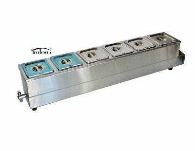6 Pans Food Warmer Steam Table Bain Marie Soup Warmer 16 Size Buffet Deep Well