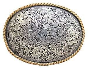 Engraved Oval Rope Border Gold and Silver Plated Western Belt Buckle