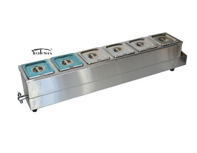 High Quality 6 Deep Pan Bain Marie Food Warmer Steam Table Soup Warmer 16pans