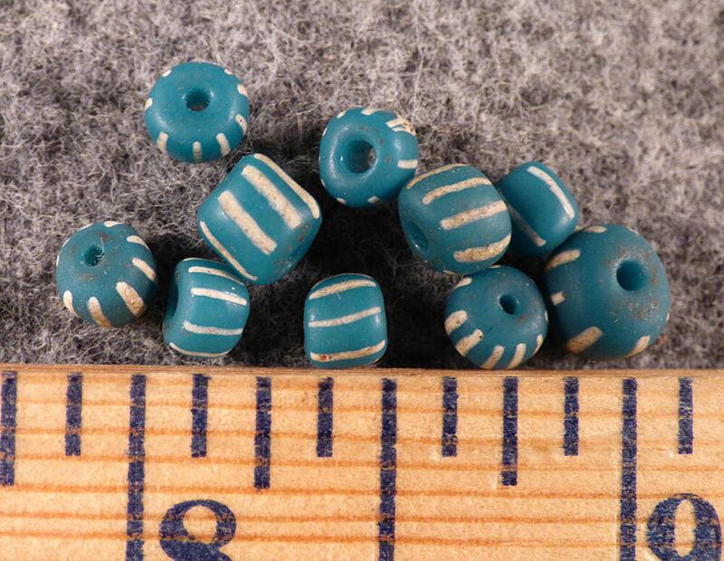 10 Huron Indian Aqua Blue Glass False Chevron Trade Beads Fur Trade 1800s