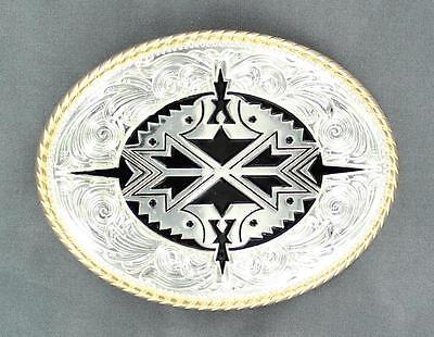 - Nocona Western Mens Belt Buckle Oval Aztec Silver 37932