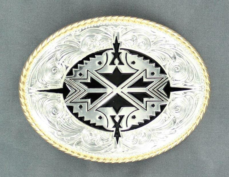 Nocona Western Mens Belt Buckle Oval Aztec Silver 37932