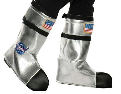 CHILD ASTRONAUT SPACE NASA SILVER BOOT COVERS COSTUME ACCESSORY UR25737