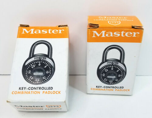 2X Vintage Master Lock Key Controlled Combination Padlock # 1525 NOS In Box 2Pcs