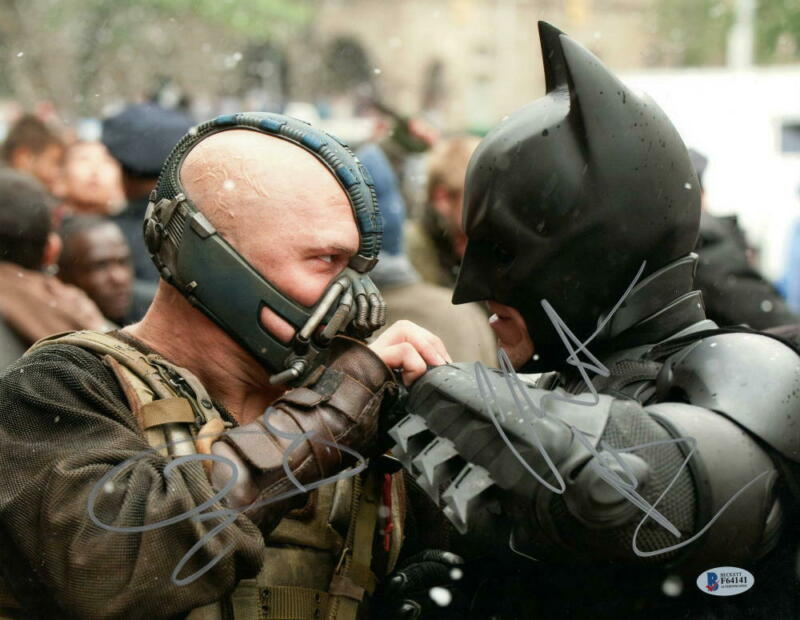 CHRISTIAN BALE TOM HARDY SIGNED 11X14 PHOTO THE DARK KNIGHT RISES BECKETT COA B