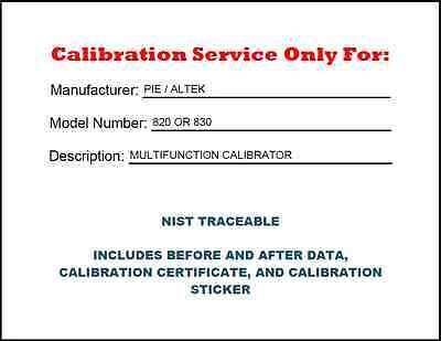 Calibration For A Piealtek 820 Or 830 Nist Traceable Br