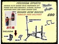 ADIDAS MULTI BENCH AND 2FT PROPOWER PUNCH SET AND CHIN UP BAR BRAND NEW BOXED FREE DELIVERY 10 MILES