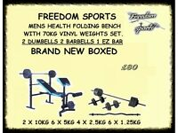 WEIGHTS BENCH WITH WEIGHTS Set 2 Dumbells 2 Barbells 1 EZ BAR BRAND NEW BOXED SEE PICTURE