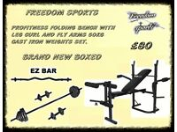 PROFITNESS FOLDING BENCH WITH 50KG IRON WEIGHTS SETWITH EZ BAR BRAND NEW BOXED