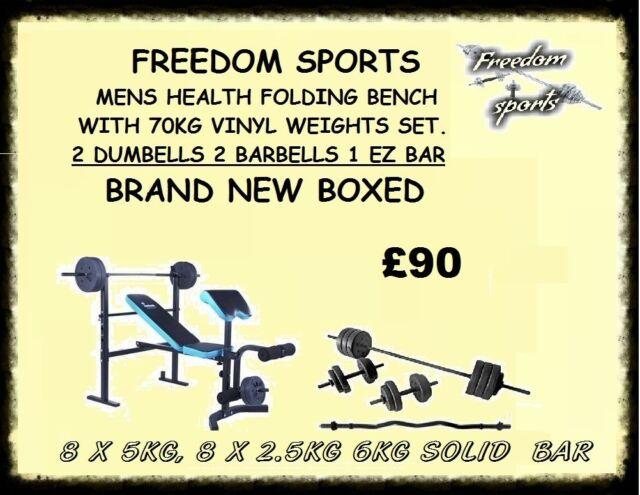 Men's Health Folding Workout Bench with 70kg Weights SET 2 BARBELLES 2  DUMBELLS EZ BAR BRAND NEW BOX | in Sandwell, West Midlands | Gumtree