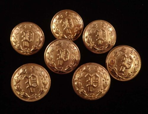 """Lot of 7 Vintage Police Department P 7/8"""" Uniform Brass Buttons Waterbury CT"""