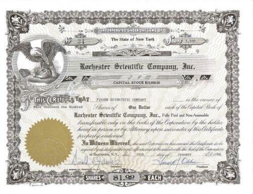 Rochester Scientific Company, Inc. > 1966 New York old stock certificate share