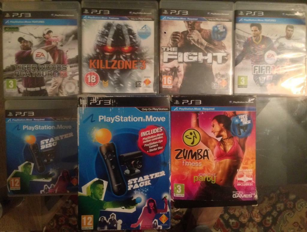 SONY PLAYSTATION 3 MOVE STARTER PACK PS3 PS4 ACCESSORY MOTION CONTROLLER CAMERA ZUMBA 4 GAMES