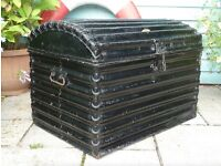 Large Victorian Very Rare Fluted Metal Travel Chest Trunk Vintage 1860-1880 Storage Chest Toy Box