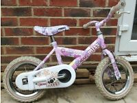 Kids Raleigh bike, 12 inch wheels, stabilisers included, girls bike, lovely condition!