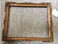 ANTIQUE VINTAGE WOODEN GOLD PAINTED PICTURE FRAME, SHABBY CHIC, UPCYCLE
