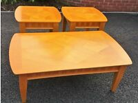 Maple Coffee Table with Two Smaller Tables