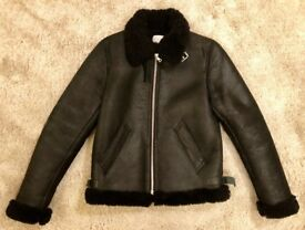 Sandro Darkland Leather Shearling Aviator Jacket