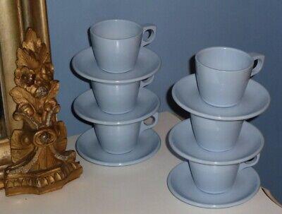 12 PIECE VINTAGE MELAMINE MELMAC BOONTON WARE TEA COFFEE CUP & SAUCER SET BLUE