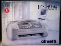 As NEW INK JET FAX MACHINE + Phone & Answering Machine, Olivetti Fax-Lab 115, uses A4 Plain Paper
