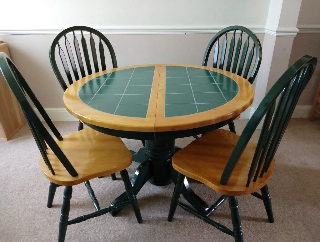 Extendable Round Green Tile Top Dining Table With Chairs In