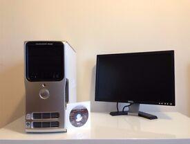 """Dell E520 Intel Quad Core Q6600 4Gb RAM, 400Gb HDD, HD7670 + Dell E207WFP 20"""" Widescreen LCD monitor"""