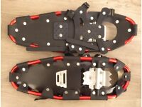 Two pairs of snow shoes with bags