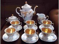 Tea set - 6 cups and saucers, Milk jug, sugar bowl, tea/coffee pot