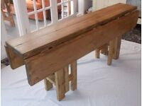 Large Handmade Rustic Drop Leaf Kitchen Dining Table