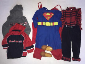 Boys Clothing size 2 years old (Reebok jacket, slippers, hoodie, tartan outfit and Superman costume)