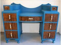 1940s Dressing Table, on trend Teal Blue colour with multiple walnut drawers